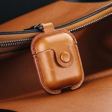 Headphone Case For Airpods Leather Case Luxury Genuine Cover For Apple AirPods 2 Case Air pods