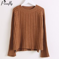 PEONFLY Pink O Neck Sweaters Korean Sweater Jumpers Thick Warm Winter Pull Femme Female Cashmere Sweater