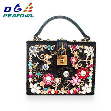 Fashion Prom evening bag diamond flower Clutch Bag hollow relief Acrylic/PU Ballot lock luxury handbag banquet bag party purse red trunk clutch bag fashion brand diamond relief acrylic ballot lock luxury handbag evening bag clutch party purse shoulder bag
