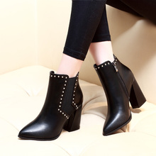 New Square High Heeled Boots Rivets Motorcycle Women Boots Sexy Fashion High Heel Ankle Ladies Boots Shoes Size 34-39 CH-B0006 цена в Москве и Питере