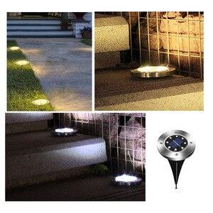 Image 5 - ضوء أرضي تعمل بالطاقة الشمسية حديقة المناظر الطبيعية مصباح حديقة 8 LEDs ضوء مدمج في الهواء الطلق الطريق الدرج التزيين الخفيفة مع جهاز استشعار الضوء