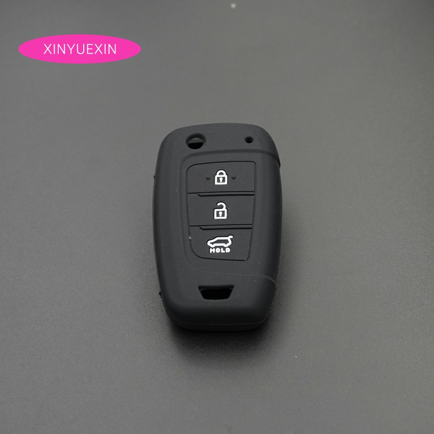 Image 2 - Xinyuexin Car Key Case Cover Silicone for Hyundai Elantra Solaris 2016 2017 2018 3 Buttons Folding Remote Key Shell-in Key Case for Car from Automobiles & Motorcycles