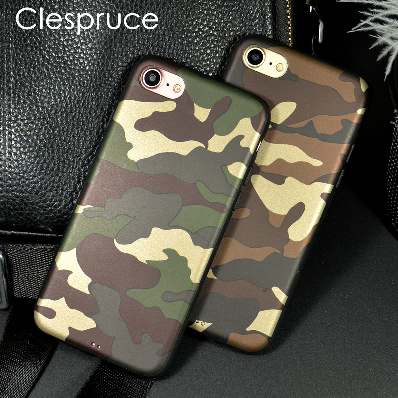 Clespruce Camouflage Pattern Back Cover For iphone X 7 8plus 6S Soft TPU Leather Case For Samsung S8 S9 Plus Protective Cases