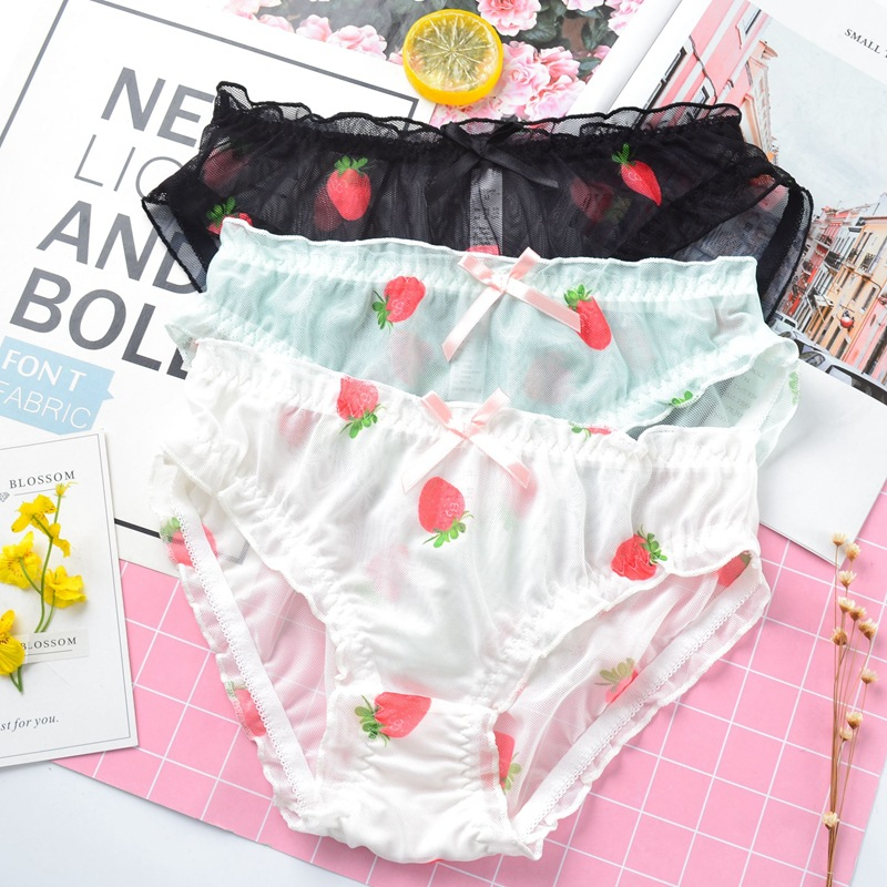 SP&CITY Cartoon Strawberry Cute Panties Sweet Bow Transparent Seamless Underwear Women Sexy Lingerie Soft Mesh Briefs Tanga