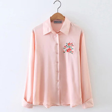 2017 Spring long sleeve shiny satin shirts women embrodery flower satin blouses women casual silk shirt pink satin tops Autumn