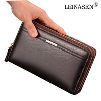 LEINASEN Luxury Brand Business Men Wallets Long PU Men S Leather Cell Phone Clutch Purse Handy