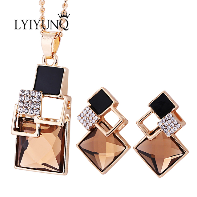 Brand Square Geometry Pandent Necklace Stud Earrings Crystal Magic Space Jewelry Set 4