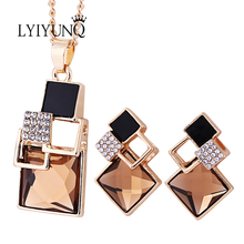 Fashion Brand Square Geometry Jewelry Sets Pandent For Women