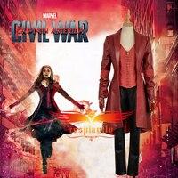 2016 Captain America 3 : Civil War Costume Wanda Maximoff Scarlet Witch Cosplay Costume Adult Women Halloween Costume W0995