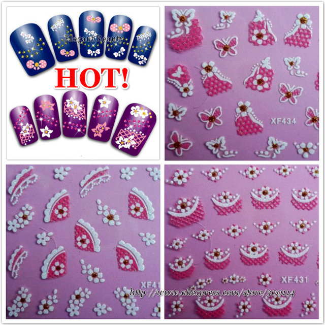 wholesale Highly recommend professional 3D nail art beauty decal decoration Nail Sticker tip 1000packs/lot free DHL/EMS shipping