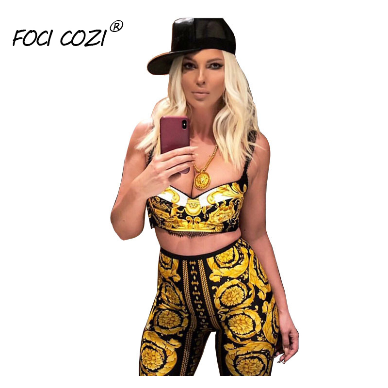 FOCI COZI Summer 2019 Fashion Women XXL Golden   Leggings   Printed High Spandex Pants Butt Lifting Leggins Sport   Leggings   Plus Size
