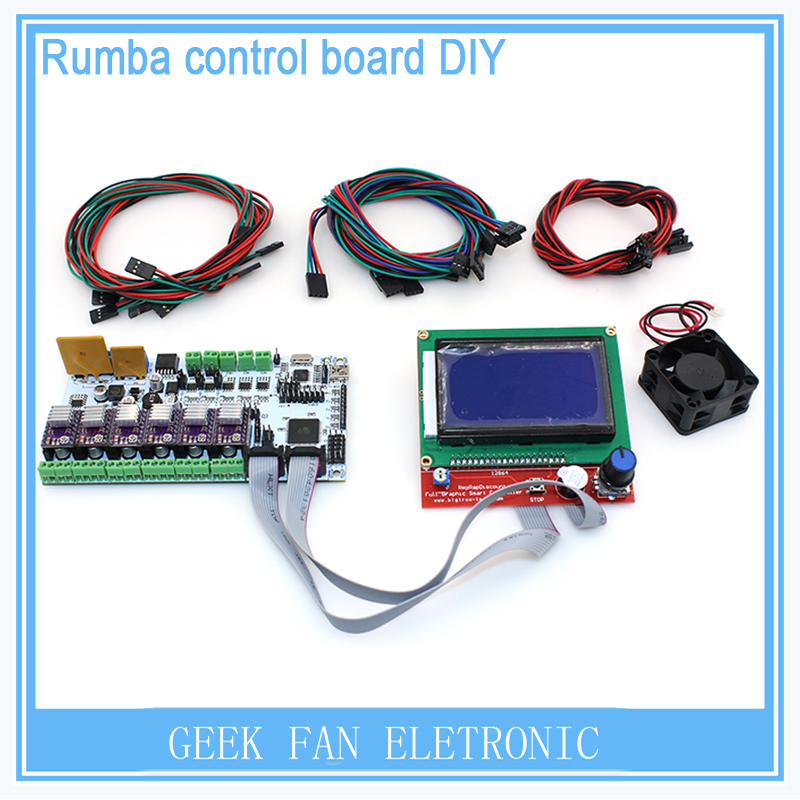 For 3D printer Electronic Parts BIQU Rumba controller board+LCD 12864 controller display+jumper wire cable+DRV8825 KIT102