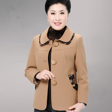 Fashion Single-breasted Coats Middle-aged Women Coat Turndown Collar Female Loose Jacket Women Spring And Autumn J348
