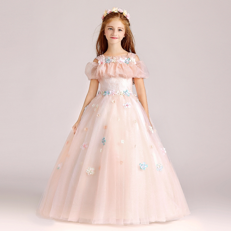 Flower Girls Dress Summer Style Teen Children Princess Clothing Fashion Kids Birthday Party Wedding Sleeveless Dresses for Girls summer girls sleeveless princess orange sundress kids fashion lotus leaf waist party prom child dress for children clothing