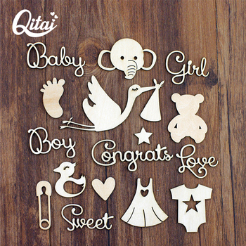 QITAI 40Pcs/pack Wood Crafts DIY Scrapbooking Elephant/swan/foot/star/skirt/Decoration Wooden scrapbook Home Decoration WF299 1