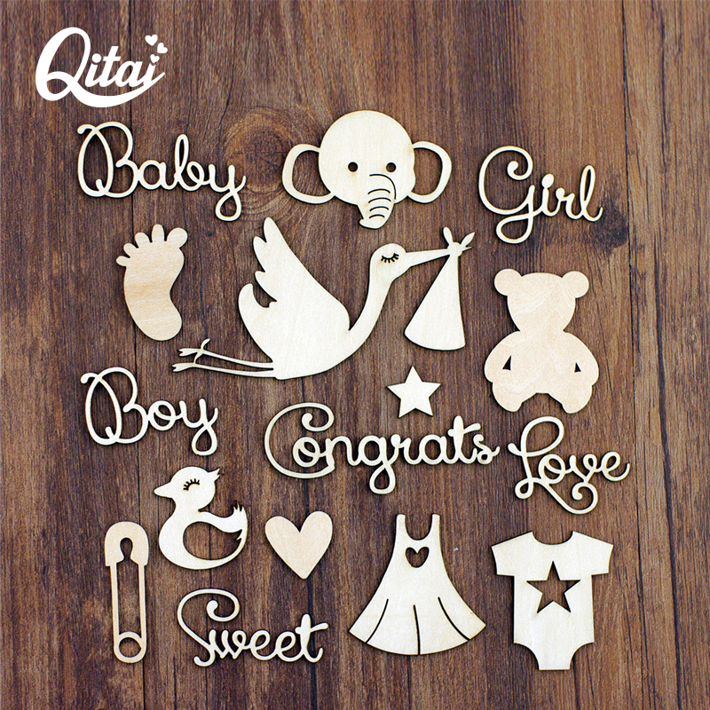 QITAI 40Pcs/pack Wood Crafts DIY Scrapbooking Elephant/swan/foot/star/skirt/Decoration Wooden Scrapbook Home Decoration WF299