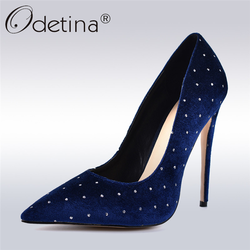 Odetina New Fashion Extreme High Heels 12cm Stilettos Printed Toe Evening Party Shoes Women Pumps with Crystal Plus Size Size 42 odetina 2018 fashion women super high heels platform pumps stilettos peep toe extreme high heels 16cm party shoes big size 31 48