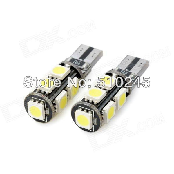 50XFree shipping T10 194 W5W 9 led smd 5050 canbus obc error free no error LED Light Bulb Lamp 9SMD White