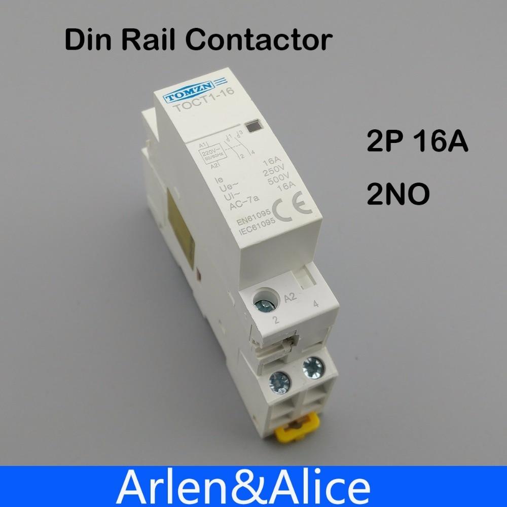 1 PCS TOCT1 2 P 16A 220 V/230 V 50/60 HZ rail Din Ménage ac Modulaire contacteur 2NO ou 1NO 1NF