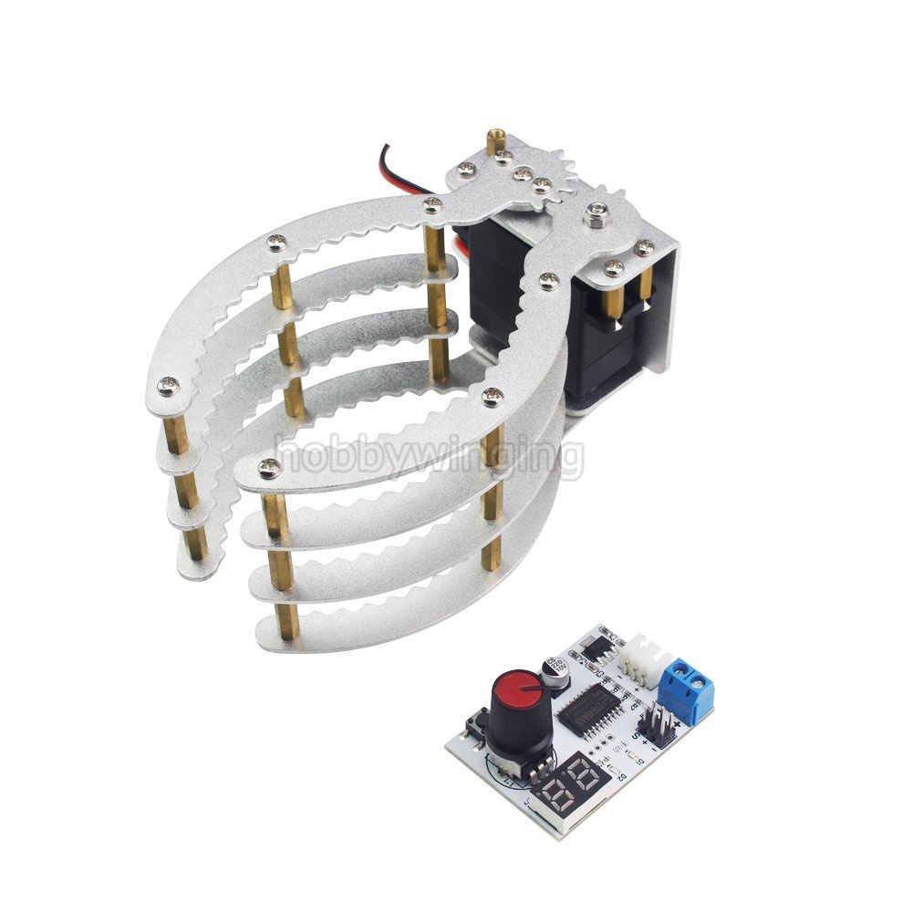 Robotic Claw Kit with 17kg Digital Servo and Servo Tester (Assembled) Large Clamp Manipulator Gripper Aluminum Hand Grips Paw symmetric grasping large clamp mechanical robot claw manipulator gripper metal aluminum hand grips paw w ldx 335mg servo