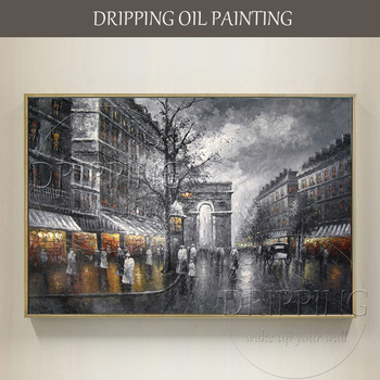 Hand-painted Wall Canvas Art Street Landscape Oil Painting on Canvas Grey France Paris Street Oil Painting for Wall Decor