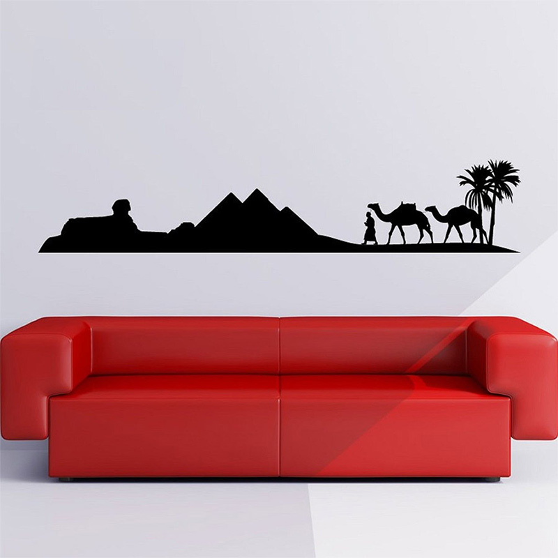Egypt Pyramid Skyline Camel Sand Wall Sticker Art Decal