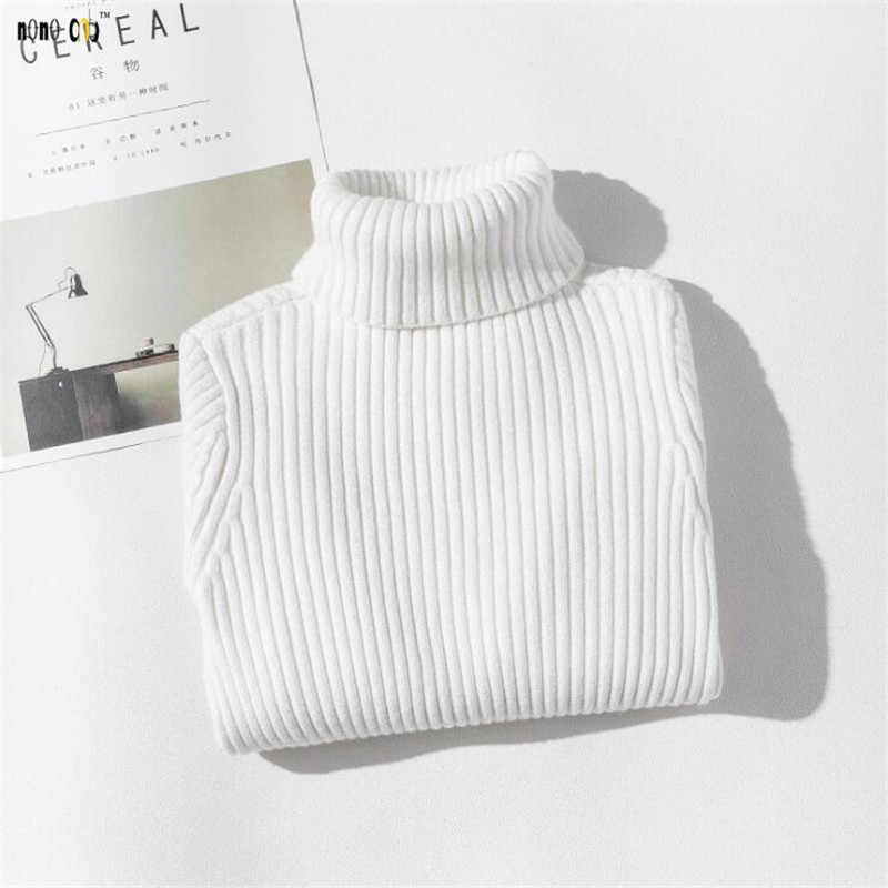 Детский свитер с воротником под горло осенне-зимний однотонный Вязаный топ с длинными рукавами для девочек 4, 5, 6, 7, 8, 9, 10, 11, 12 лет