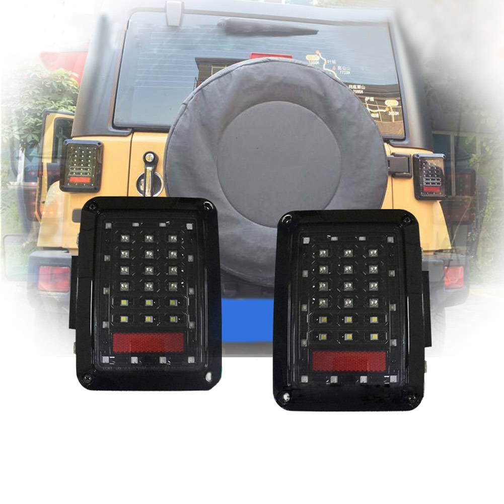 2 Pcs/Set Car LED Rear Tail Light Brake Lamp Taillight Reverse Signal Lights for Jeep Wrangler JK 2007-2015 CSL2018 led integrated taillight for jeep wrangler jk 2007 2016 snake style brake light reverse rear lights eu us version