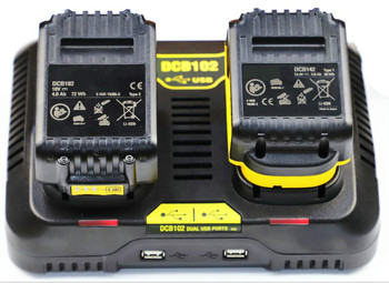 5A For DCB102 DeWALT dual-charge lithium battery charger 10.8V/14.4V/18V two USB ports Fast Charger