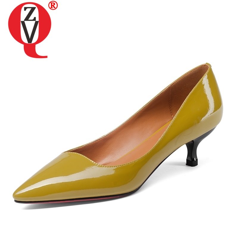 ZVQ fashion hot sale patent leather concise woman pointed toe pumps footwear med heels breathable large