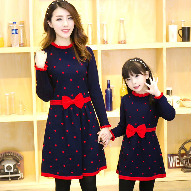 2018 Mother Daughter Dresses Family Matching Outfits Long Sleeve Family Look Matching Clothes Mom And Daughter Dress