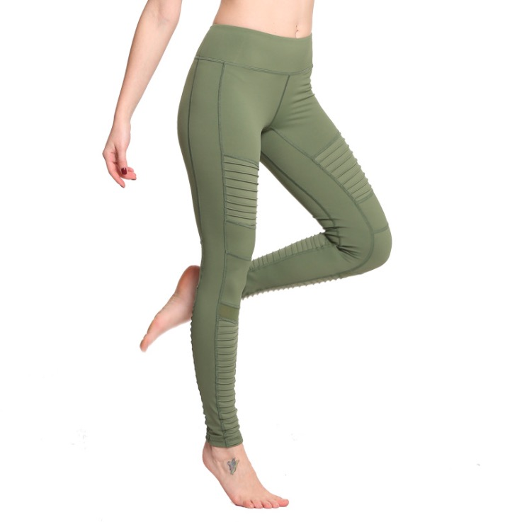 d233b026d56ff Aerfey Brand New Women Pleated Mesh Patchwork Sports Yoga Pants Compression  Gym Moto Jogging Leggings Army Green Color-in Yoga Pants from Sports ...