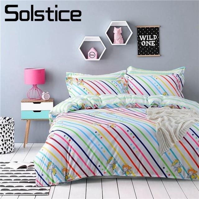 Solstice Home Textiles Colorful Rainbow Stripes Bedding Sets 4pcs ...