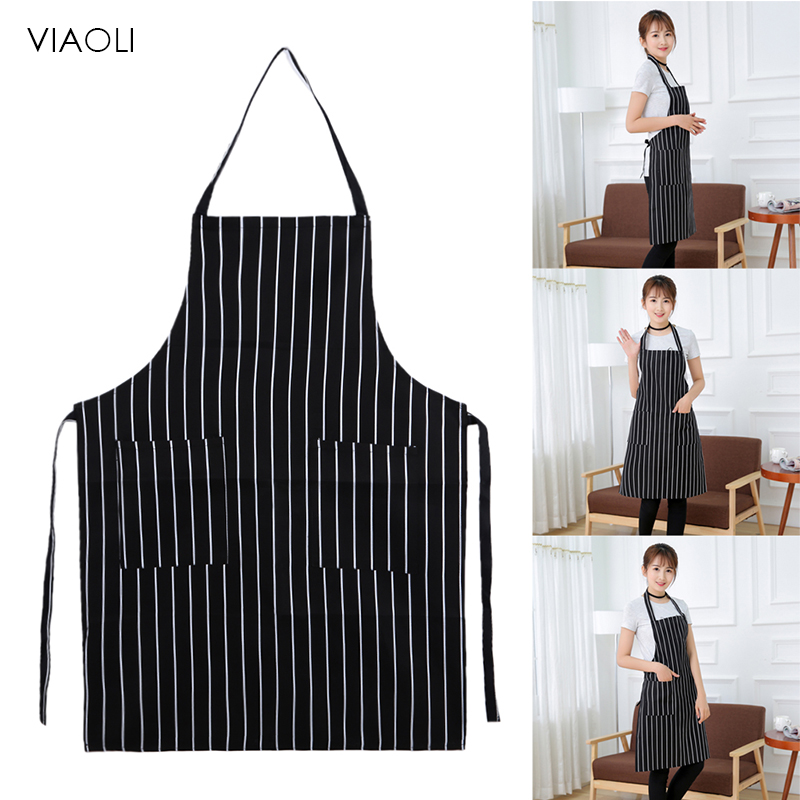 New Simple Style Stripe Adjustable Chef Waiter Kitchen Apron With Pockets Unisex Kitchen Cooking Sleeveless Apron 8 Patterns