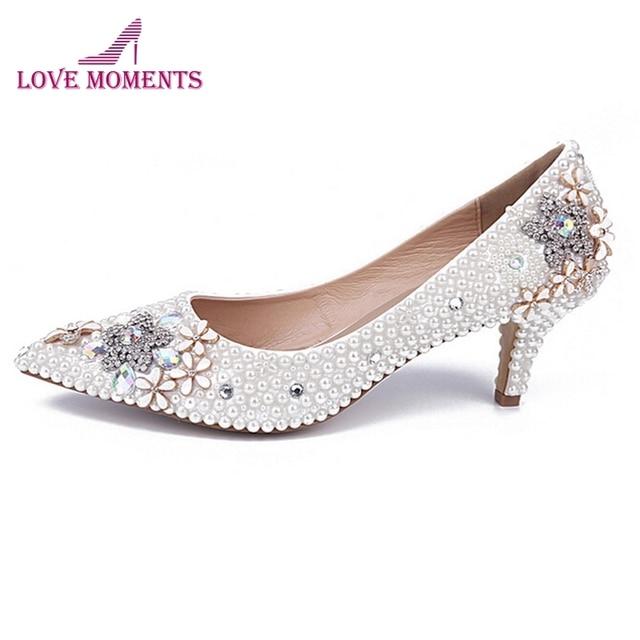 4553d55d39 Salto médio Sapatos Confortáveis Dedo Apontado Partido Sapatos Elegantes Sapatos  de Dama de honra do baile