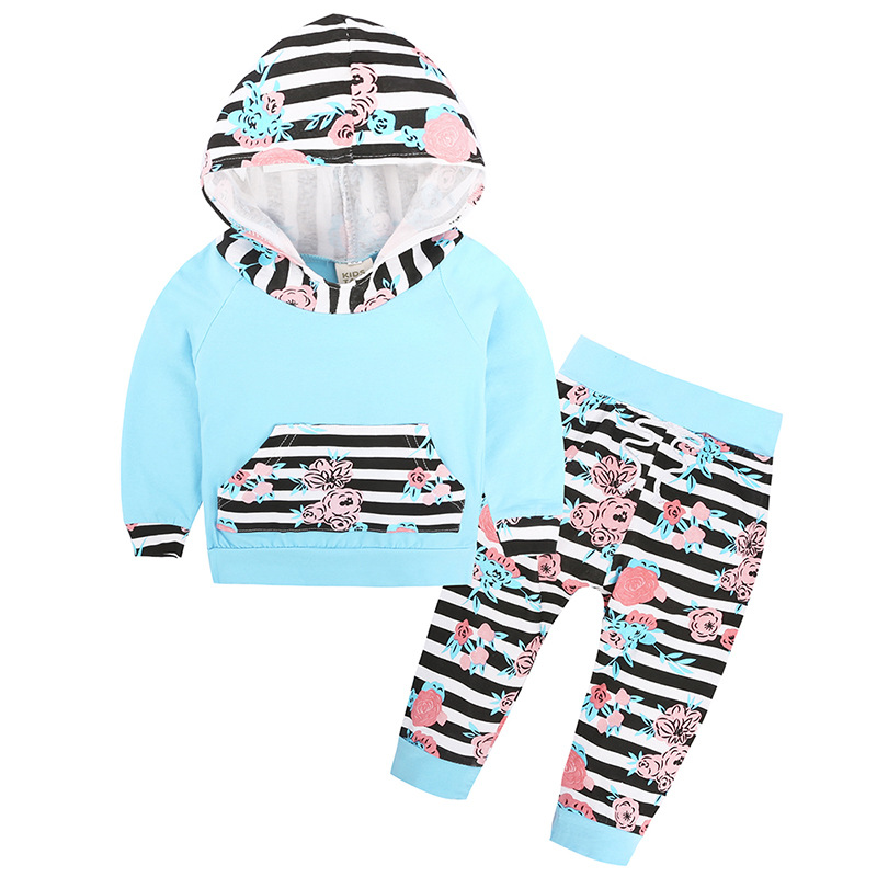 2017 Autumn Fashion Baby Girls Floral Striped Clothes Hooded Tops Coat Pants Coming Home Outfits 2Pcs Set