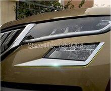 Для Fit 2017 2018 Skoda kodiaq автомобиля спереди и сзади Туман свет лампы рамка отделкой спереди головного света кадр