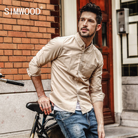 SIMWOOD Casual Shirts Mannen 2017 Herfst Nieuwe Lange Mouwen Vintage 100% Pure Katoenen Shirt Slim Fit Plus Size Hoge Kwaliteit CC017013