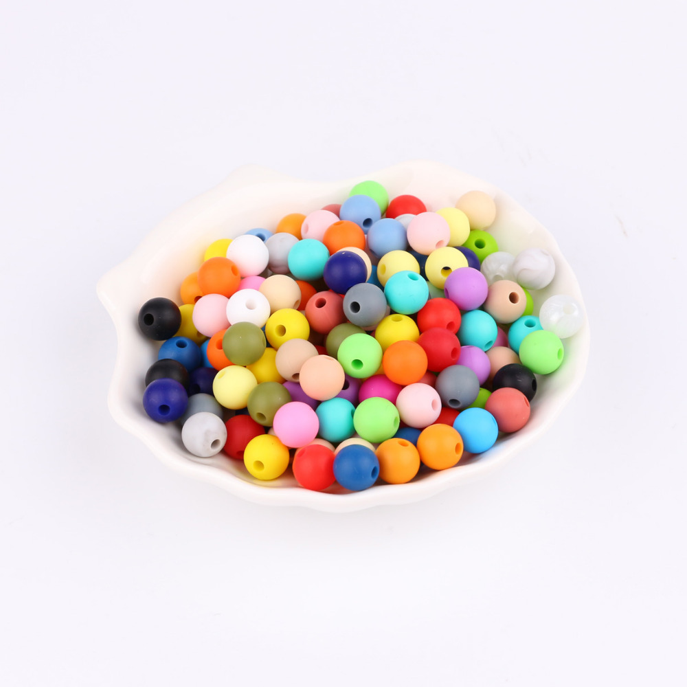 TYRY.HU 200 Pieces Silicone Round Beads 9mm Baby Teething Beads Necklace Pacifier Chain BPA Free Baby Teether Bead