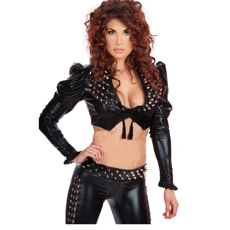2016 New Hot Unique Sexy Wetlook Clubwear Catsuit For Women Black Suit Rivet Fashion Two Pieces Suit Tops And pants W850769