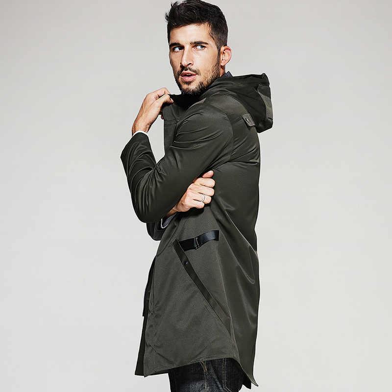 KUEGOU Neue Herbst Herren Mit Kapuze Graben Gespleißt Grün Farbe Lange Mäntel Kleidung Man Slim Mantel Männlichen Windjacke Jacken 3840