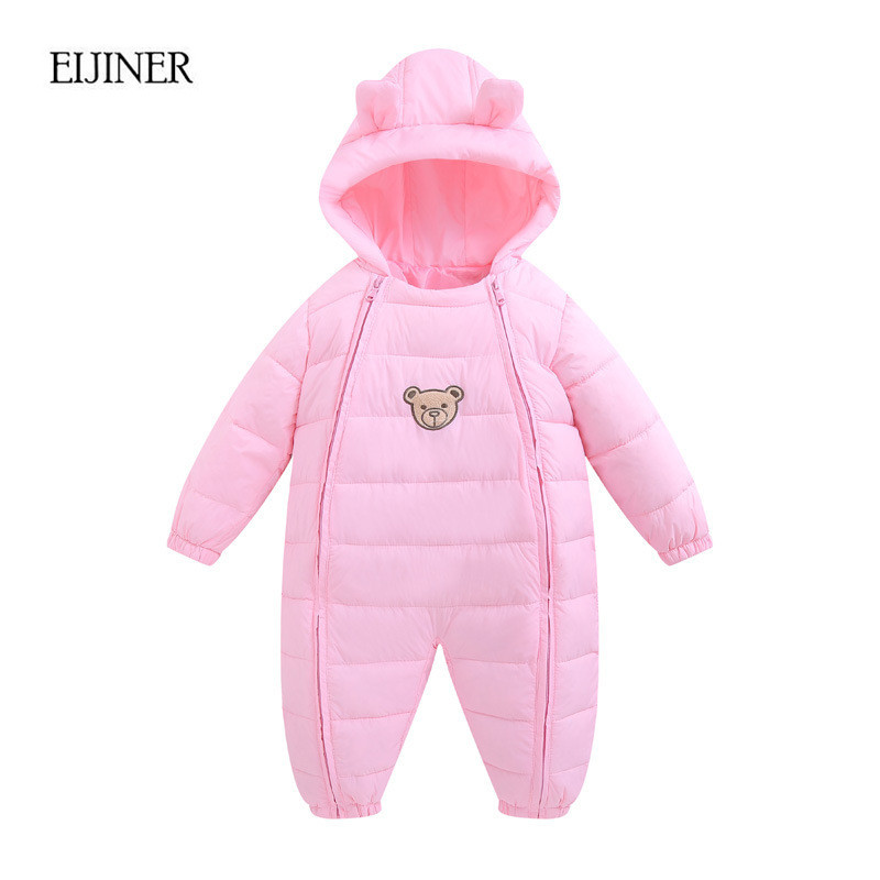 Baby Girls Rompers Winter 2017 New Girls Winter Clothes Hooded Baby Boys Rompers Cotton Infants Jumpsuit for Kids Baby Rompers