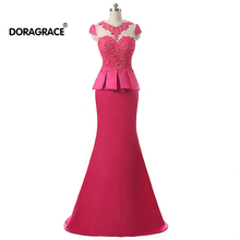 Doragrace Real Photos Cap Sleeve Applique Fushcia Formal Evening Gowns Mermaid Prom Dresses