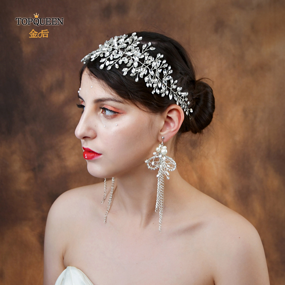 TOPQUEEN Wedding Hair Accessories Vintage Bridal Tiara And Crown Rhinestone Headband Crystal Hair Jewelry Bridal Hairpiece HP237