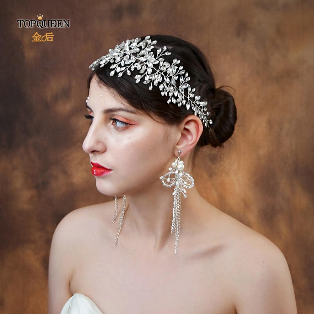 TOPQUEEN Wedding Hair Accessories Vintage Bridal Tiara And Crown Rhinestone Headband Crystal Hair Jewelry Bridal Hairpiece HP237