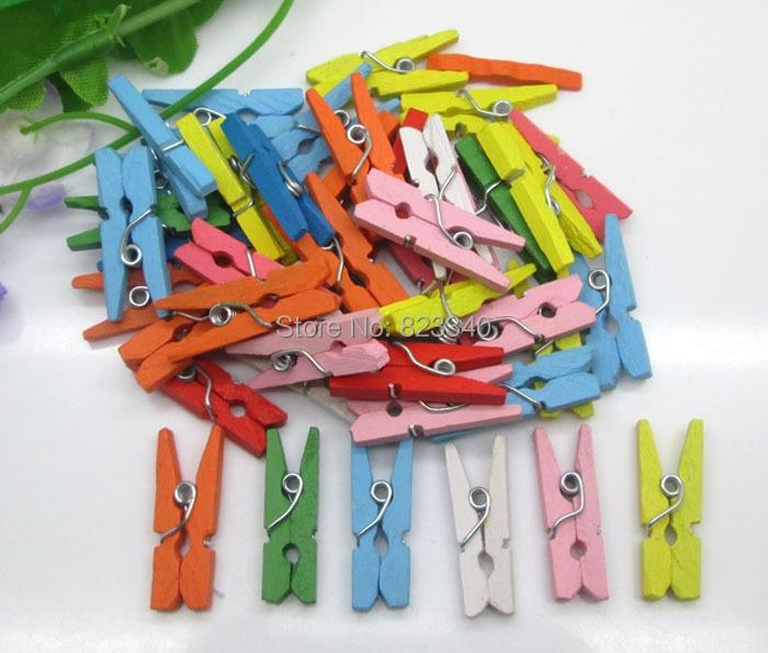 100Ppcs/Set Colorful Mix Clips Wooden Clip Photo Clip Simple Photo Paper Clips Wood Crafts 9x25mm Home Decoration