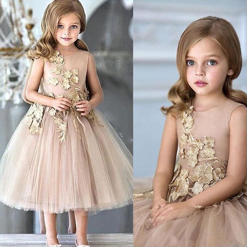 Nouveau Champagne fleur filles robes pour les mariages Tulle Appliques genou longueur une ligne robes de reconstitution historique fermeture éclair retour robe d'anniversaire