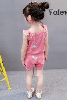 (4 sets/lot) New 2018 Summer Girls' Clothing Sets Striped T-shirt & Shorts Baby Girl 2 PCs Set  8042615 3