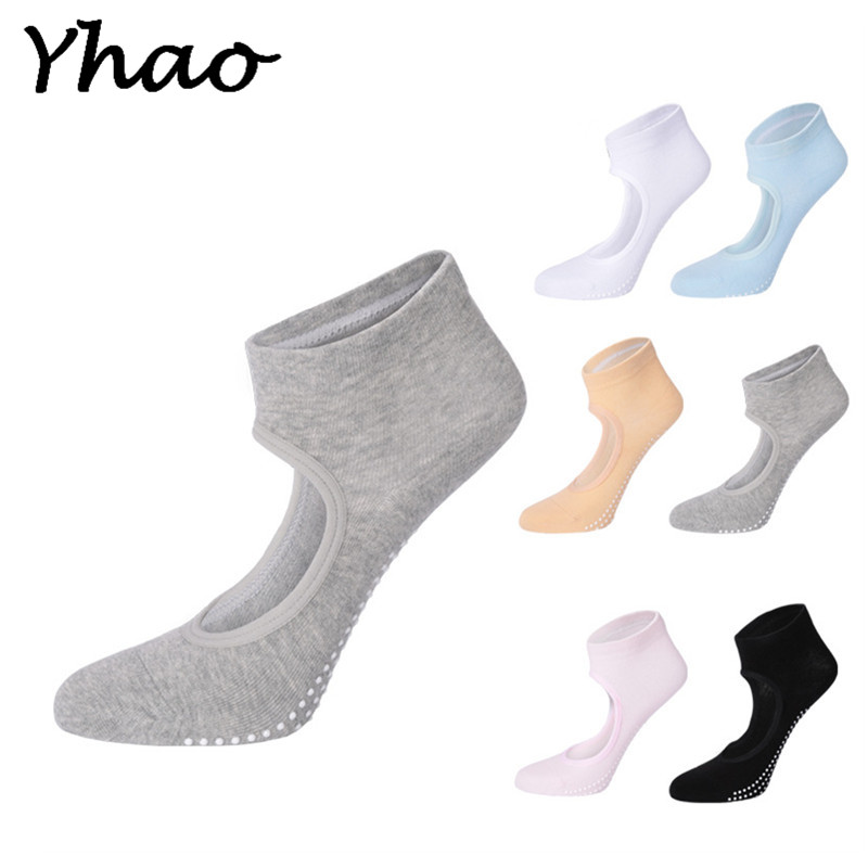 Yhao Cotton Yoga Backless Boat Socks Anti-skid Breathable Barre Pilates Dance Fitness Socks For Women