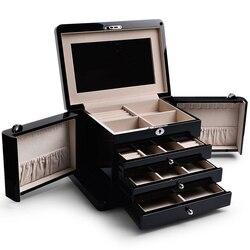 FANXI Massief Houten Sieraden Doos Vier Layer Ring Earring Box Case Lade Sieraden Opbergdoos met Make Glas